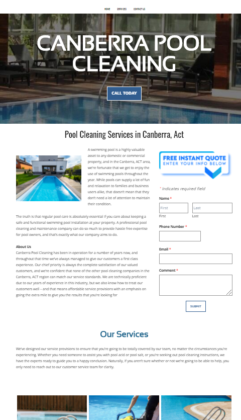 Home page view of pool cleaning website