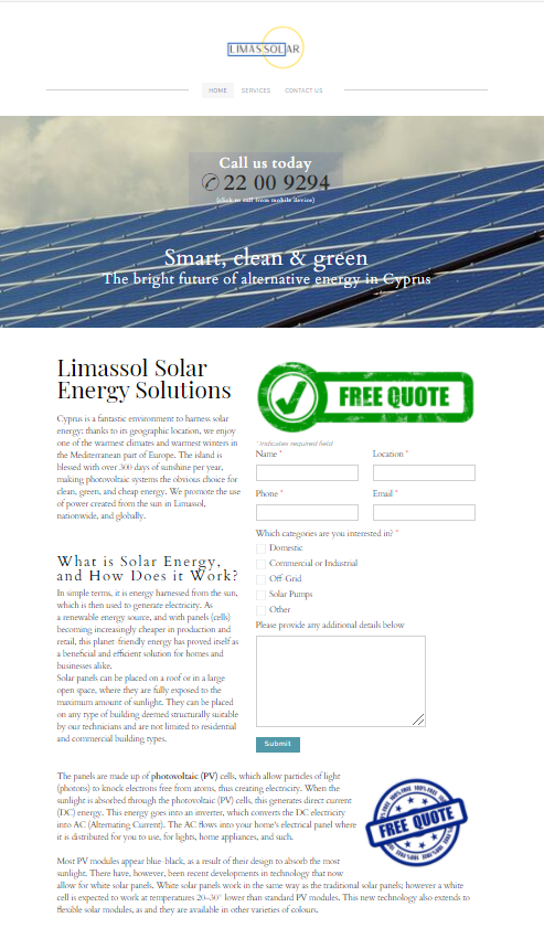 Home page view of solar website